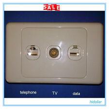 TRIPLE SOCKET WALL PLATE OUTLET TELEPHONE PHONE DATA INTERNET RJ11 RJ45 CAT6 TV