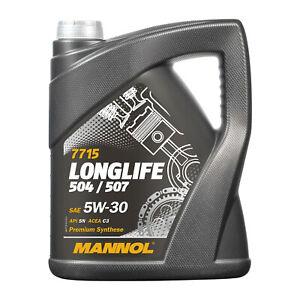 5W30 MOTORÖL 5 Liter MANNOL LONGLIFE Öl 5W 30 VW Audi 504 / 507 / BMW LL04 229.5