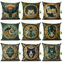 Printing Throw Cover Cushion Cotton Case Linen VINTAGE  Pillow Gift Decor Home