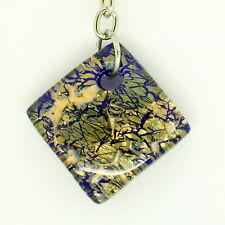 Blue and Gold Handmade Murano Glass Keyring from Venice