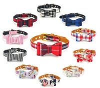 Dog Collar Bow Leather Material Puppy Pet X-Small Small Female Male Tartan Plaid
