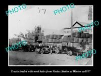 LARGE OLD HISTORIC PHOTO OF WINTON QLD, TRUCKS LOADED WITH WOOL FROM VINDEX 1917