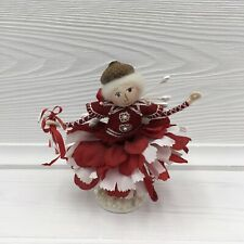 Handmade Candy Cane Wood and Pipe Cleaner Festive Doll Figurine Signed