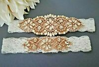 Wedding Bridal Garter Set - ROSEGOLD CRYSTAL PEARL OFF WHITE LACE GARTER SET