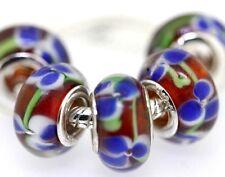 5X handmade silver Murano Lampwork Glass Beads for European Charm Bracelet L17