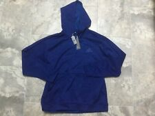 MEN'S ADIDAS PERFORMANCE TI FLC PO LOGO POLYESTER SWEAT SHIRT HOODIE Blue XL