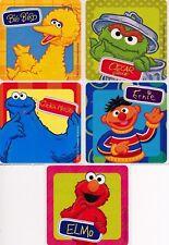 5 x Square Stickers ~ Oscar Elmo Ernie Cookie Monster Big Bird Sesame Street ~