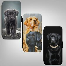 Black Labrador Puppy Dog WALLET FLIP PHONE CASE COVER for IPHONE SAMSUNG HUAWEI