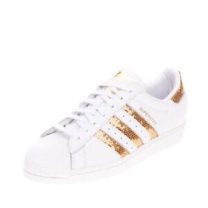 ADIDAS ORIGINALS Leather Sneakers Size 40 2/3 UK 7 US 8.5 Metallic Logo Sequins