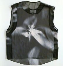 3.1 Phillip Lim Silk Sleeveless Blouse Abstract Angel Print Sheer Shell Size 4