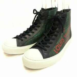 Pre-owned Authentic Louis Vuitton Men's Sneakers Leather 8 Green/Navy/Red/White