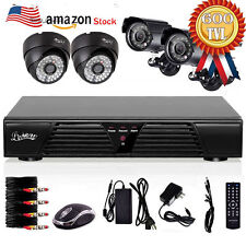 4CH Channel CCTV DVR Video Audio Security System 600TVL InDoor OutDoor Camera