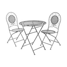 Finchwood Jardin 3pc Grey Table Set, 1 x Folding Table /2 x Folding Chairs