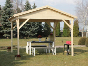 Pavillon Holz Gartenpavillon Gartenlaube Jasmin naturbelasen 300 x 300 cm