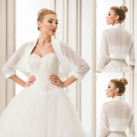 White Ivory Short Bridal Boleros Jackets Ladies Wedding Shrugs Tops Satin Edge
