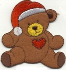 CHRISTMAS TEDDY BEAR EMBROIDERED IRON ON  APPLIQUE 2788-J