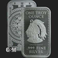 1 oz .999 Fine Silver Aztec Calendar Silver Bar -IN STOCK *READY TO SHIP*