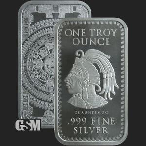 1 oz .999 Fine Silver Aztec Calendar Silver Bar -IN STOCK *READY TO SHIP*
