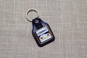 BMW E46 Compact Keyring - Leatherette & Chrome Keytag