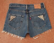 LEVI 501 HIGH WAISTED STUDDED SHORTS SIZE 12 W31
