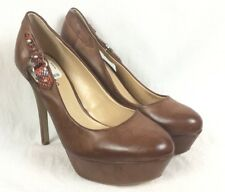 Guess 9 M Brown Leather Platform Side Belted Animal Texture Pump Heel Shoes