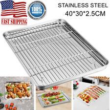 Stainless Steel Cookie Sheet Pan & Rack Set Baking Oven Tray Toaster Roast Large