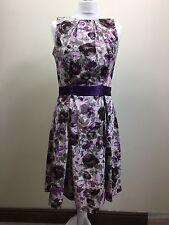 Ladies Womens Dorothy Perkins Flowery Purple 50s Dress Rockerbilly UK 14