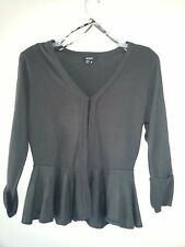 XOXO Dark Charcoal Gray Peplum Cardigan Sweater Size M