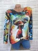 ITALY flauschig Feinstrick Shirt Pulli Pullover mit Print 36 38 NEU E780