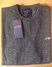 Para hombres Armani Jeans Suéter Jersey De Cuello Redondo Mangas Largas Gris Talla Xl Rrp £ 170.00
