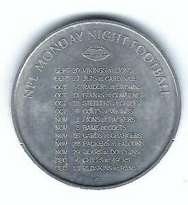 1971 NFL MONDAY NIGHT FOOTBALL SCHEDULE SCHICK RAZOR BLADES COIN TOKEN MEDAL