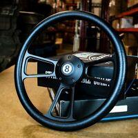 """14"""" Matte Black Muscle Style Steering Wheel Black Half Wrap 5 Hole"""