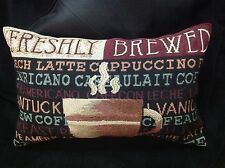 Tapestry Fabric Oblong Pillow - Coffee Cup motif - Breakfast/kitchen decor
