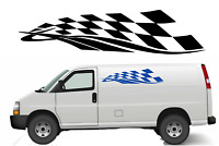 CHEQUERED FLAG SIDE STRIPE X2 Car/Van/ caravan/ boat Sticker decal 4ft 1200mm
