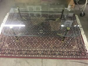 Labarge Glass And Brass Coffee Table