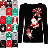 New Womens Christmas Reindeer Gingerbread Santa Ladies Long Sleeve T Shirt Top