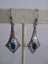 Vintage Sterling Silver Lapis Lazuli Dangle Earrings Old Estate.