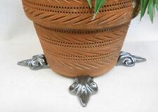 "POT FEET Ceramic Flower Planter Risers ""Fleur de Lis"" Metallic Silver Gray set 4"