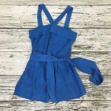 REISS Blue Playsuit Womens 100% Silk Tie Waist Holiday Summer Size UK 12 0955