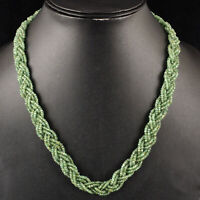 """18"""" Natural Zambian Emerald Necklace Facetted Beads - 925 Silver Diamond Clasp"""