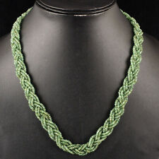 "18"" Natural Zambian Emerald Necklace Facetted Beads - 925 Silver Diamond Clasp"