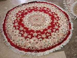Round Area Rug Red Medallion Floral Wool Silk Hand Knotted Carpet (4 x 4)'