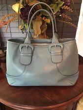 Cole Haan light blue leather satchel/shoulder bag /tote Large