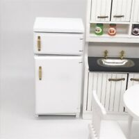 Dollhouse Miniature Kitchen Furniture wood Refrigerator Fridge Freezer 1/12 Toy