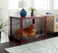 Dog Crate End Table For Large Dogs With Cover Cherry Wood Top Indoor Pet Kennel
