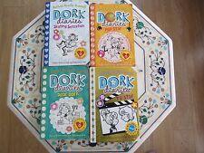 Set of 4 Dork Diaries by Rachel Renee Russell Age 9+ (3 P/B & 1 H/B)