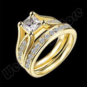 Fashion Stackable Ring 18KGP Gold Princess Cut AAA CZ Engagement Weding Band Set