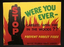 Vintage British Columbia Forest Service Cardboard Poster Print B709