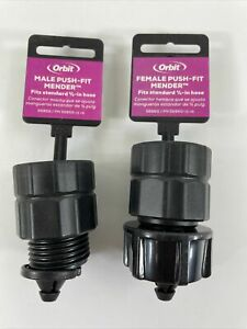 """Orbit Female & Male Push-Fit 5/8"""" Garden Hose Repair Mender Plastic 56860 56859"""