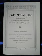 Jahresuhren-Fabrik (JUF) 1905 400 Day Anniversary Clock Catalog Reprint
